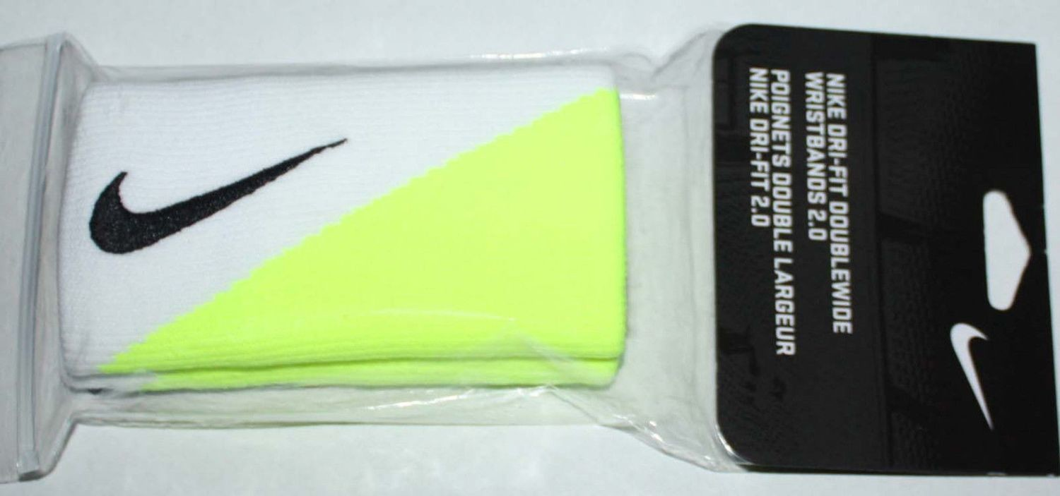 Nike 2.0 Dri-Fit Double-Wide Two-Tone Wristbands White/Volt/Black Swoosh