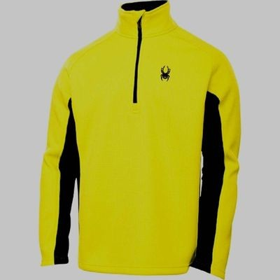Spyder OUTBOUND Men's Acid/Black Half Zip Mid Weight Core Sweater (Small)