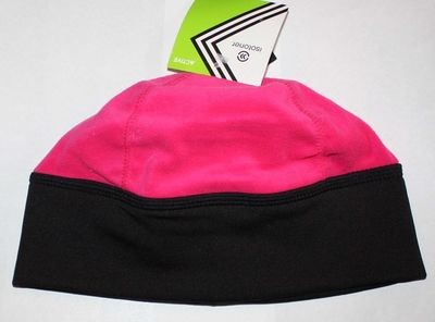 Isotoner Active Women's Magenta/Black Fleece Ponytail Holder Beanie (One Size)