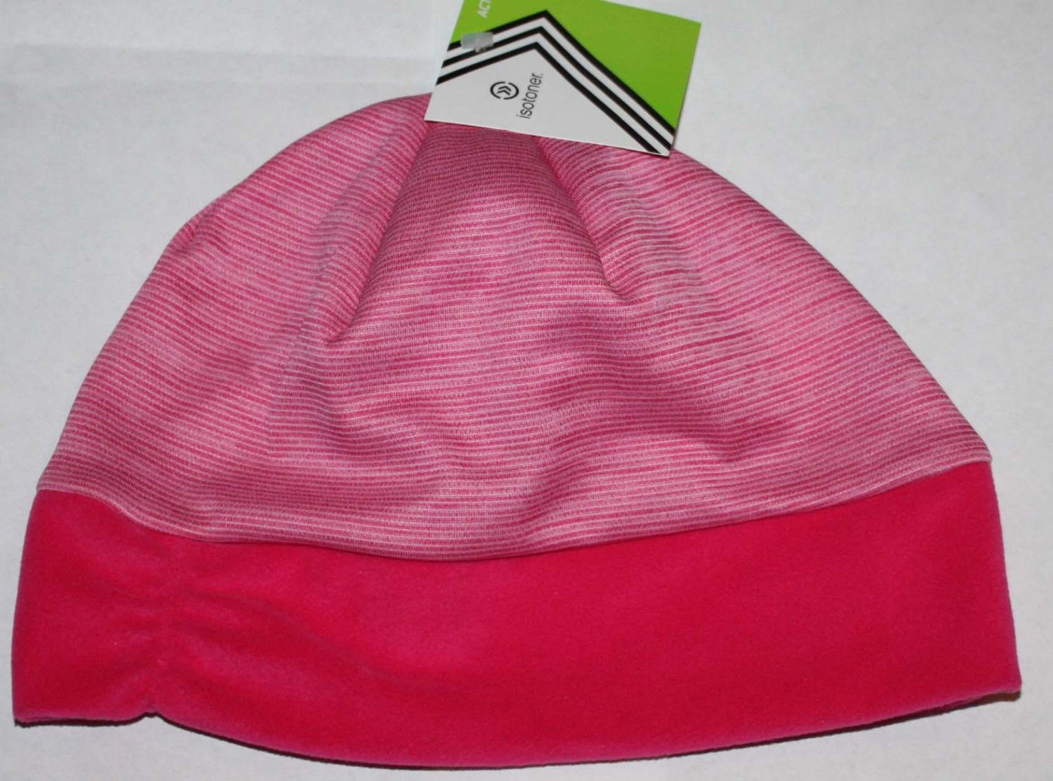 Isotoner Active Women's Magenta/Magenta White Striped Fleece Band Beanie  (One Size)