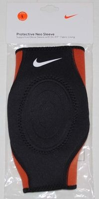 Nike Unisex Dri-Fit Black/Orange Protective Supportive Neo Elbow Sleeve (Large)