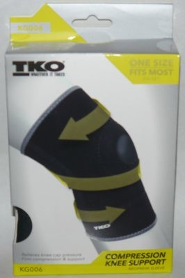 TKO Unisex Black/Gray Compression Knee Brace Neoprene Sleeve KG006 (One Size)