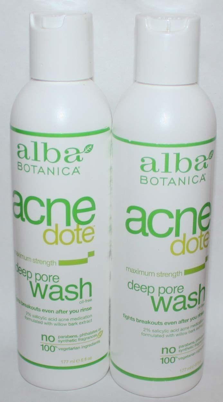 Lot of 2 Alba Botanica Acnedote Maximum Strength Deep Pore Oil Free Wash 6 oz