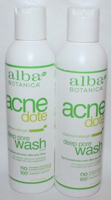 Lot of 2 Alba Botanica Acnedote Maximum Strength Deep Pore Oil Free Wash 6 oz