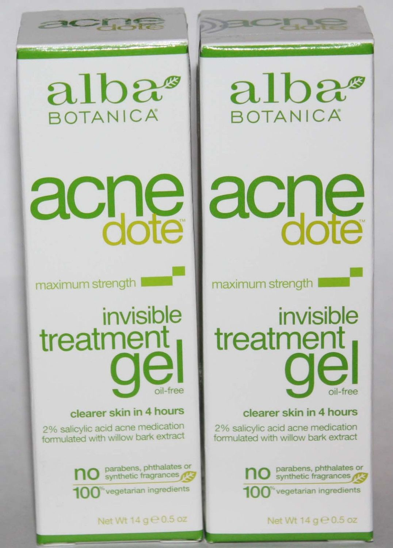 2 Alba Botanica Acnedote Maximum Strength Invisible Treatment Gel 0.5 oz Each