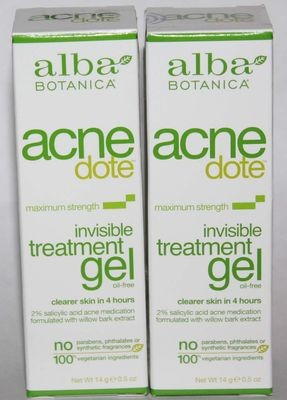 2 Alba Botanica Acnedote Maximum Strength Invisible Treatment Gel 0.5 oz Each