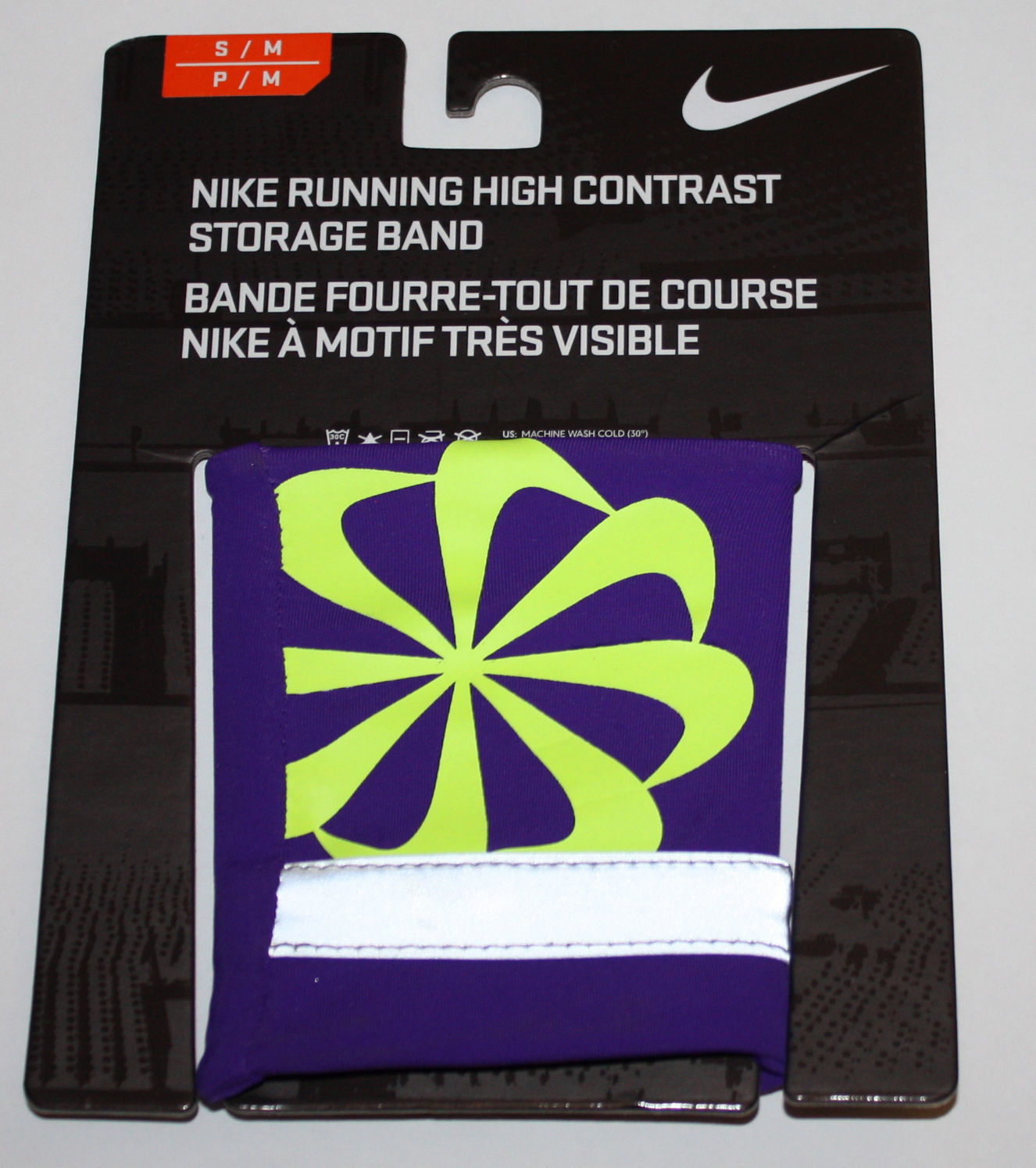 Nike Running High Contrast Storage Wrist Band  -Electro Purple/Volt (Small/Medium)