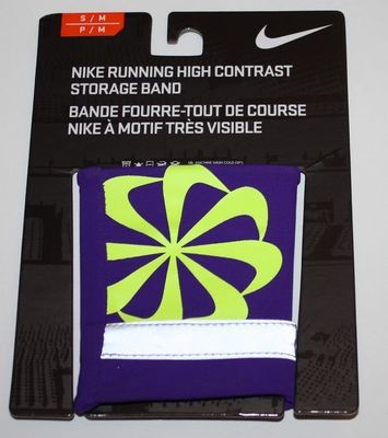 Nike Running High Contrast Storage Wrist Band  -Electro Purple/Volt (Small/Medium)