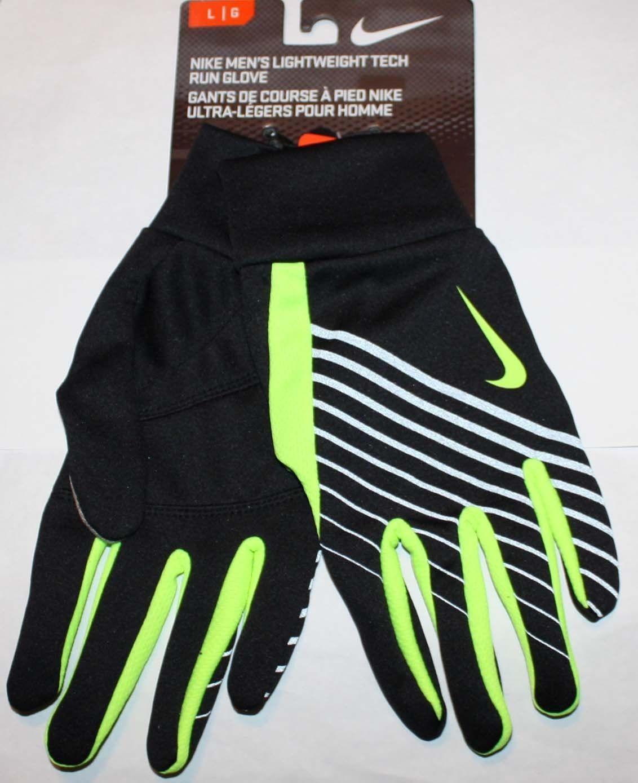 Nike Men's Lightweight Tech Run Gloves -Black/Volt (Several Sizes)