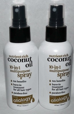 Lot of 2 Oliology Nutrient Rich Coconut Oil 10-in-1 Multipurpose Spray 4 oz Each