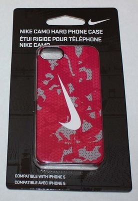 Nike CAMO Hard Phone Case For iPhone 5 Dark Pink/Gray/White Swoosh