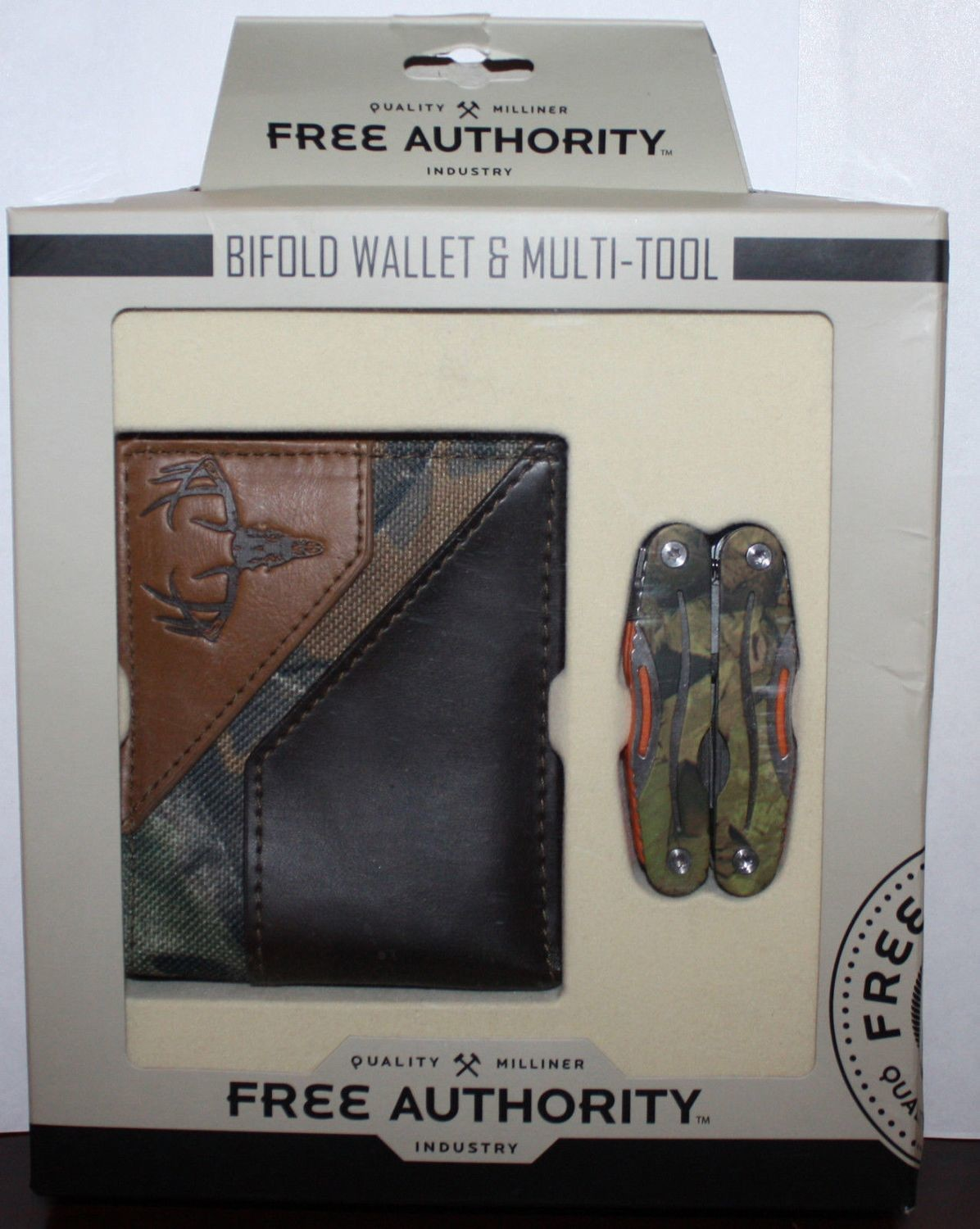 Free Authority Brown/Camo Print Bifold Wallet & Multi-Tool Set