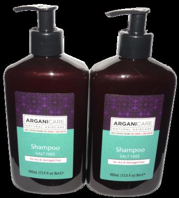 Lot of 2 ARGANICARE Salt Free Shamoo For Dry, Damaged Hair 13.5 oz Each