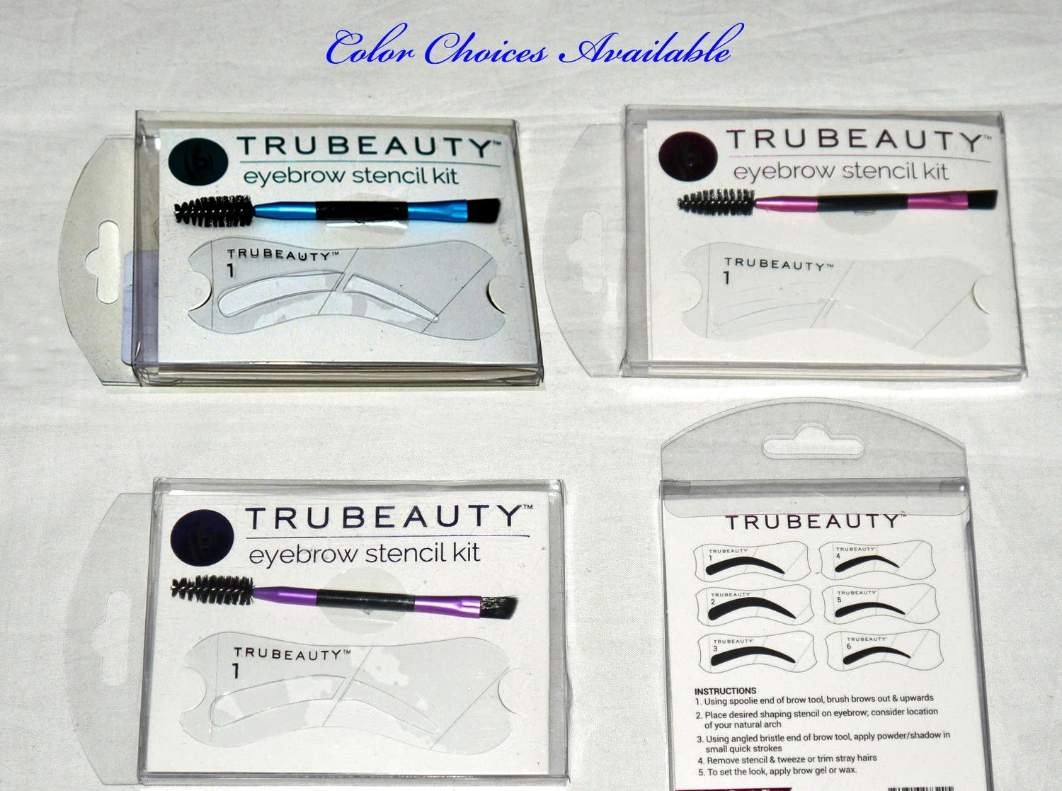 True Beauty Set of 6 Eyebrow Stencils & Eyebrow Brush Kit (Color Choices)