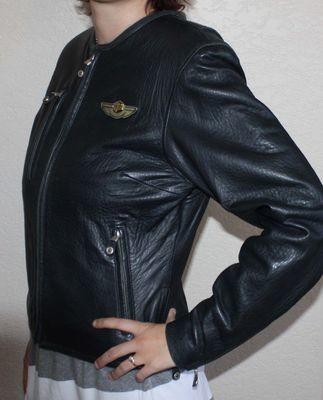 Harley Davidson Women's Black Genuine Leather Jacket (Small)