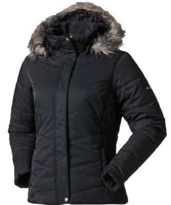 Columbia Women's Simply Snowy Insulated Faux Fur Hooded Jacket -Black (Small)