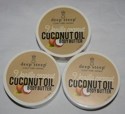 Lot Of 3 Deep Steep COCONUT OIL Vanilla Coconut Body Butter 7 oz Each