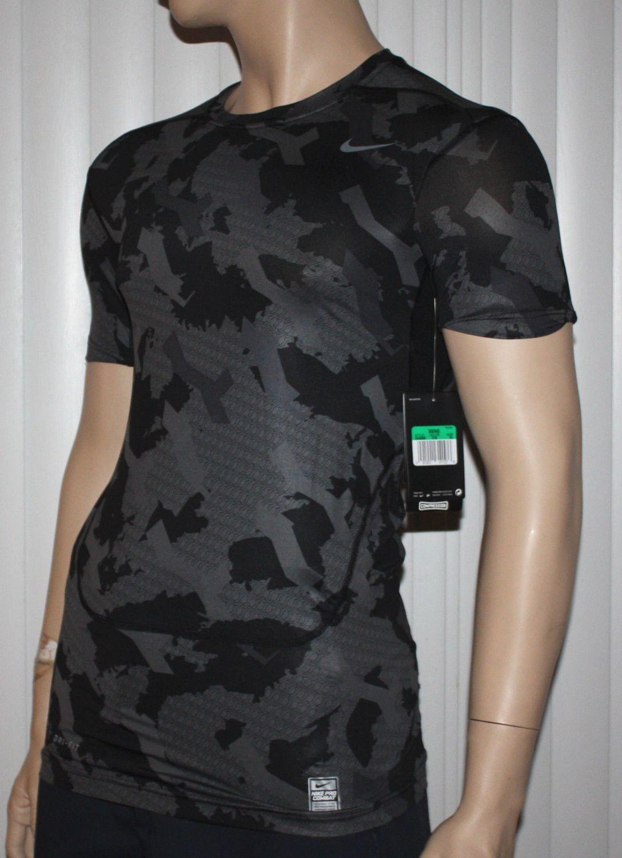 749543f21 Nike Pro Combat Men's Dri-Fit Black/Dark Gray/Gray Camo Compression  (XX-Large)