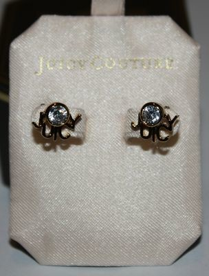 Juicy Couture JUICY LOGO STUDS Gold Tone Crystal Earrings #YJRUS045