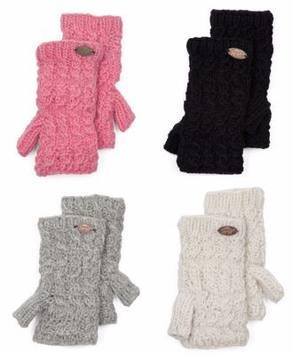 Turtle Fur Women's Nepal Mika Hand Knit Fingerless Mittens (Several Colors)