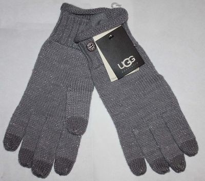 UGG Australia Women's Gray/Silver Metallic Nyla Bailey Smart Gloves (One Size)