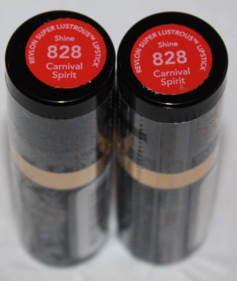 Lot of 2 Revlon Super Lustrous Shine Lipstick #828 Carnival Spirit  .13 oz Each