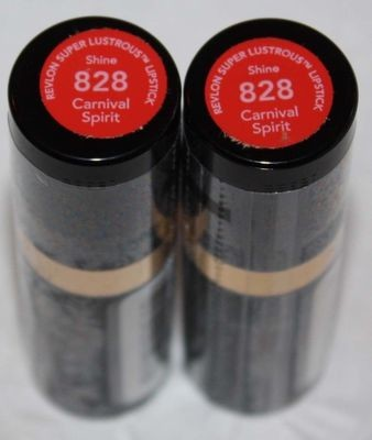 Lot of 2 Revlon Super Lustrous Shine Lipstick #828 Carnival Spirit  .13 oz Each