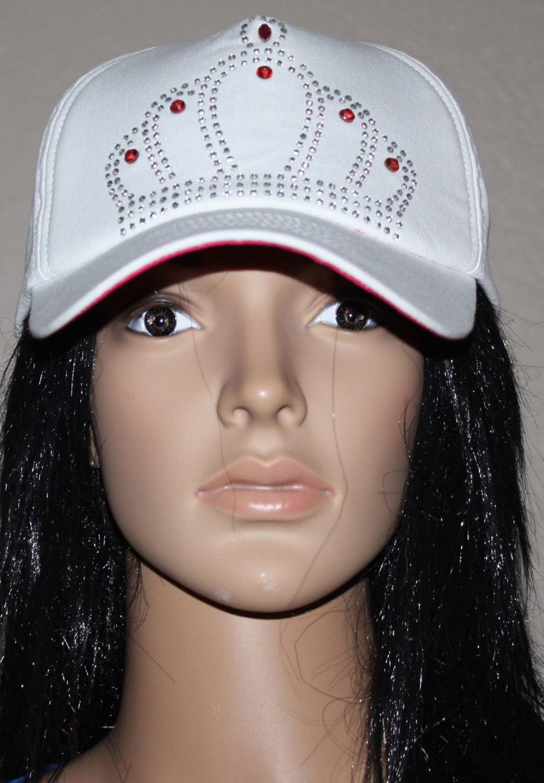 Betsey Johnson Women's White/Magenta Rhinestone Embellished Crown Cap (Adjustable)