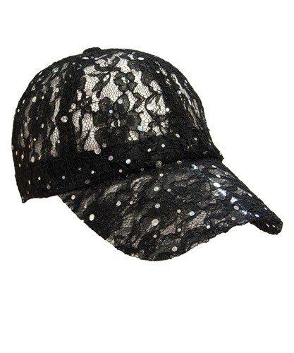 Lacey Glitter Cap - Black