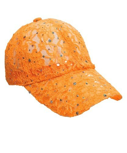 Lacey Glitter Cap - Orange