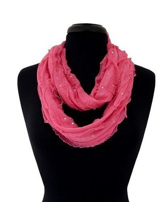 Giltter Ribbon Infinity Scarf - Hot Pink