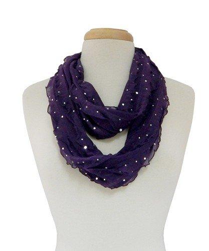 Giltter Ribbon Infinity Scarf - Purple
