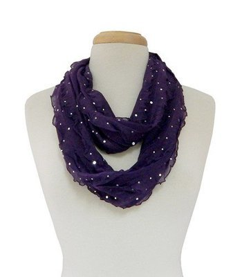 Giltter Ribbon Infinity Scarf - Purple