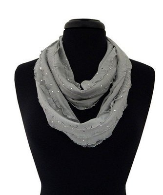 Giltter Ribbon Infinity Scarf - Gray