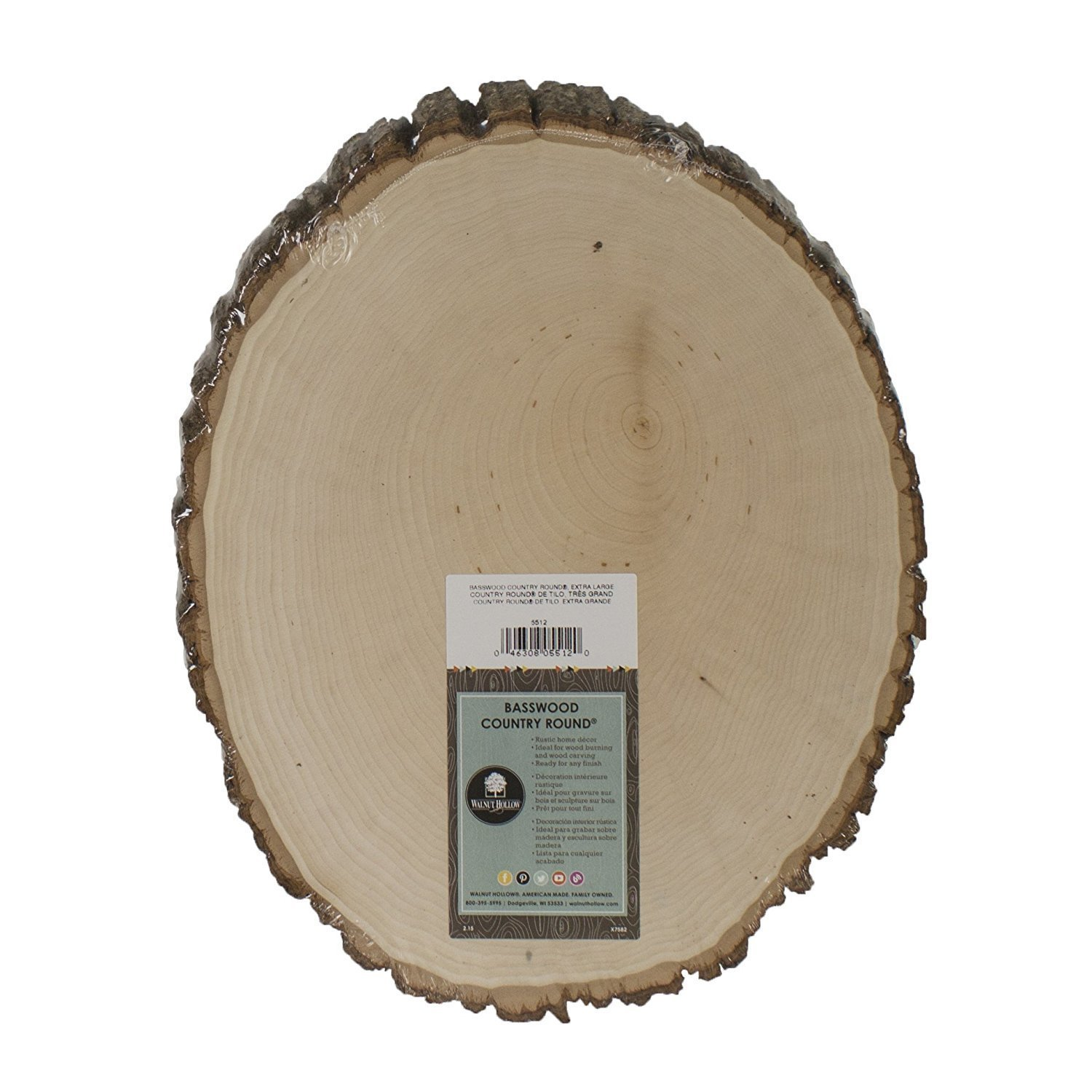 "Extra Large Basswood Rustic Country Round - 11"" to 13"" Wide"