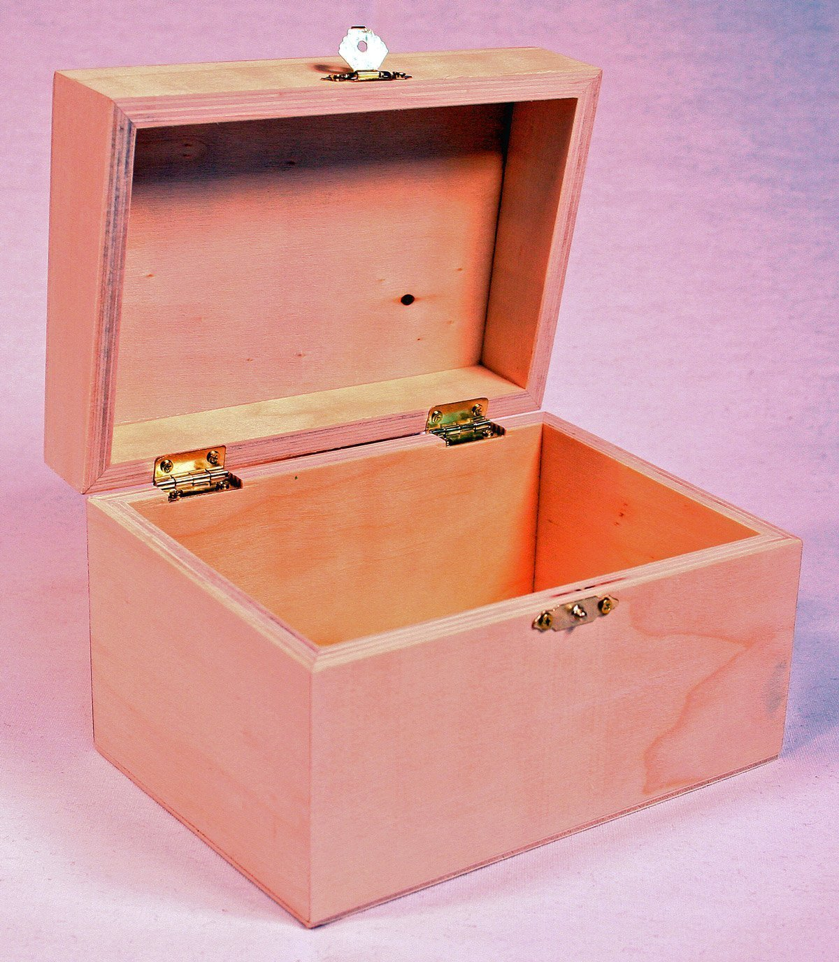 "Wooden Recipe Box with Hinged Lid and Front Clasp - 6.75"" x 4.5"" x 4.25"""