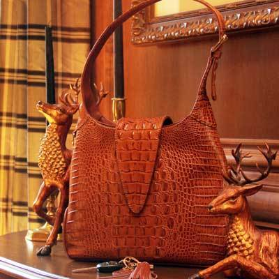 Concealed Carrie Crocodile Print Leather Hobo