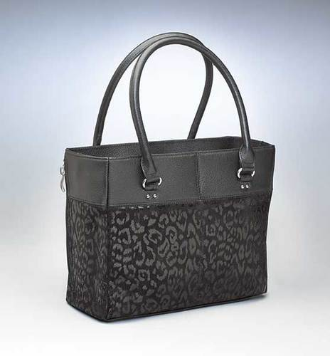 GTM-0063LEP Black Leopard Embossed Traditional Tote