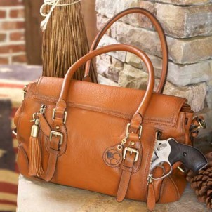 Concealed Carrie Aged Brown Leather Satchel