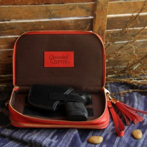 Concealed Carrie Bright Red Leather Compact