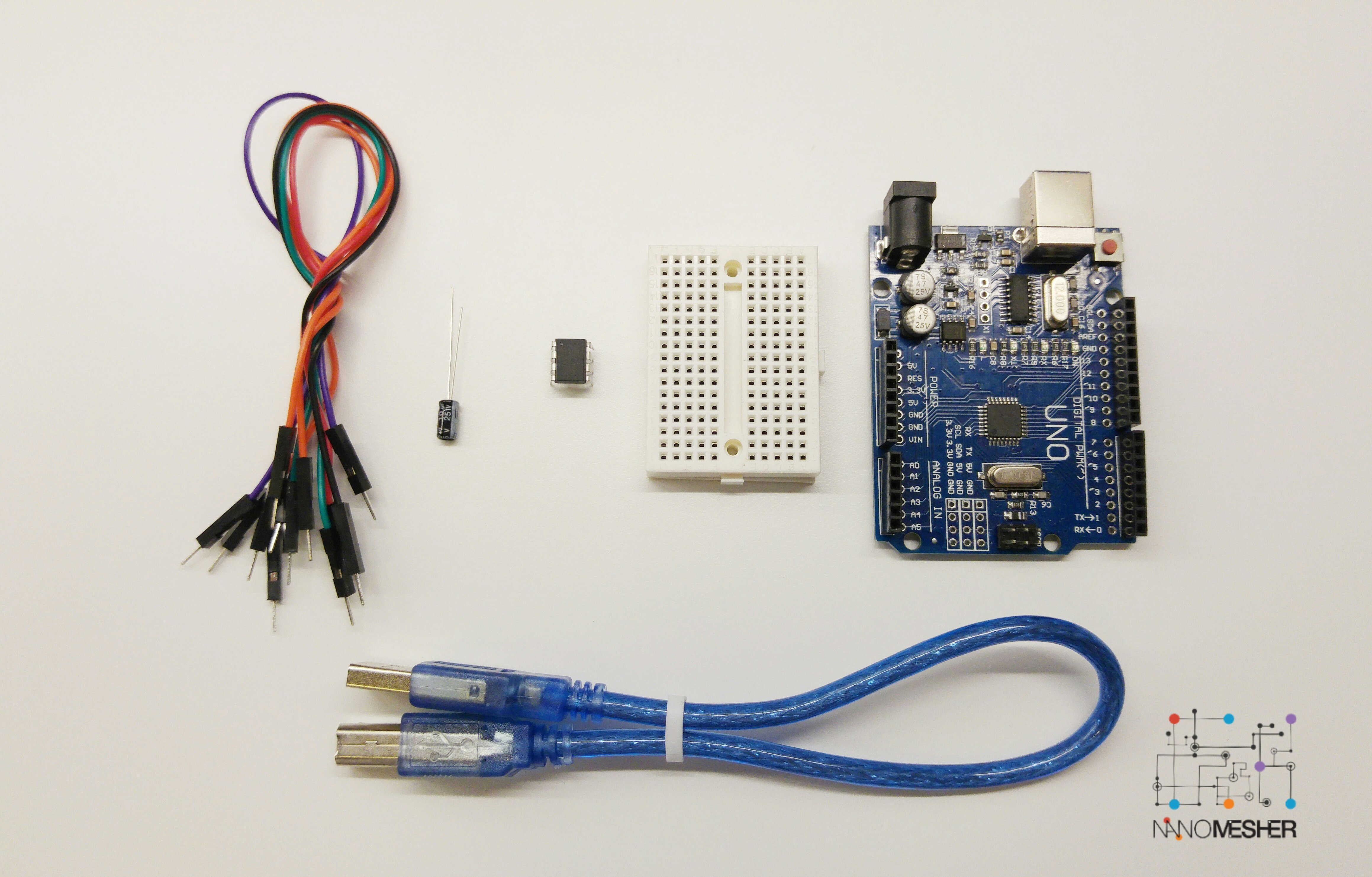 Attiny Microcontroller Programmer Kit including Arduino Uno & Attiny85 APROMM