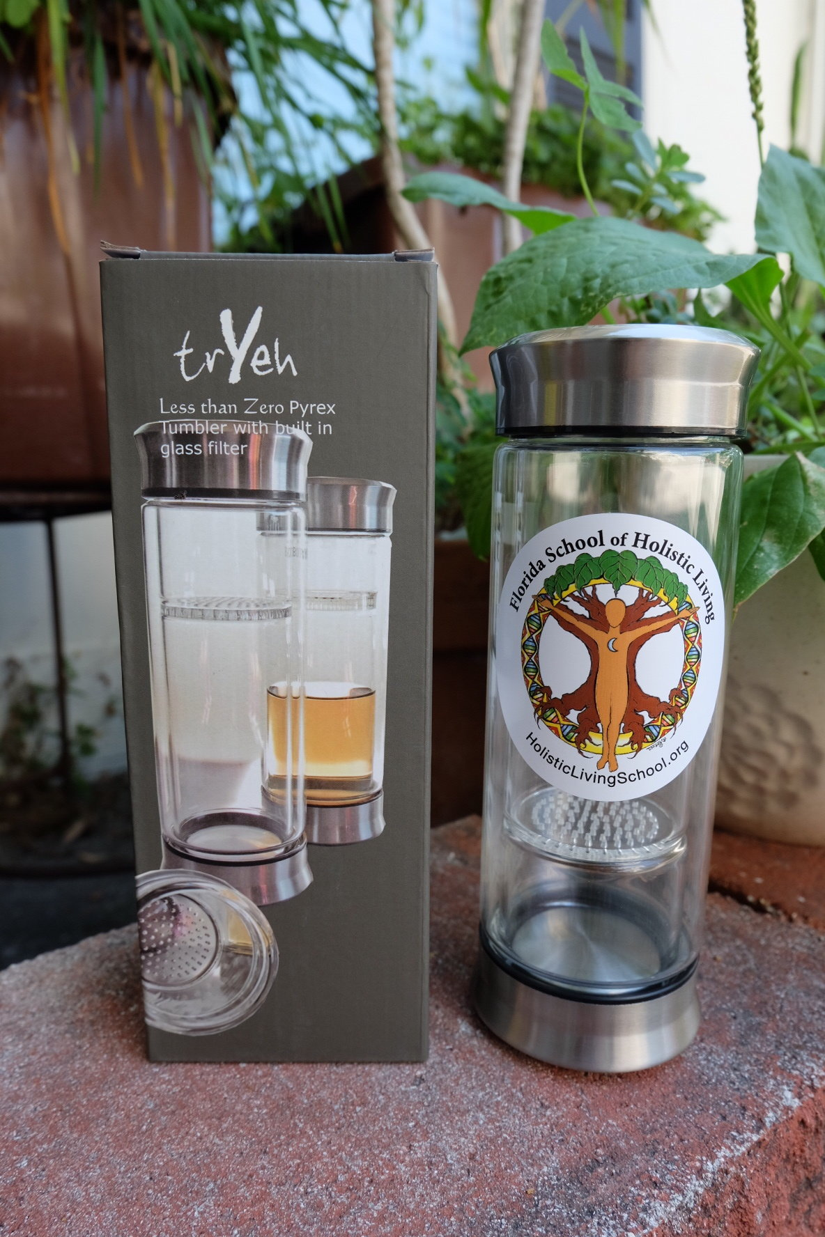 Florida School of Holistic Living Glass Tumbler with built in strainer 00001