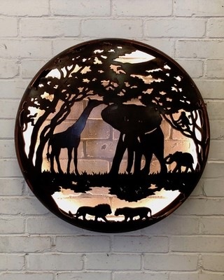 Illuminated Wall Mount - Africa Design 725mm