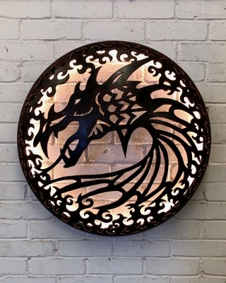 Illuminated Wall Mount - Dragon Design 1000mm