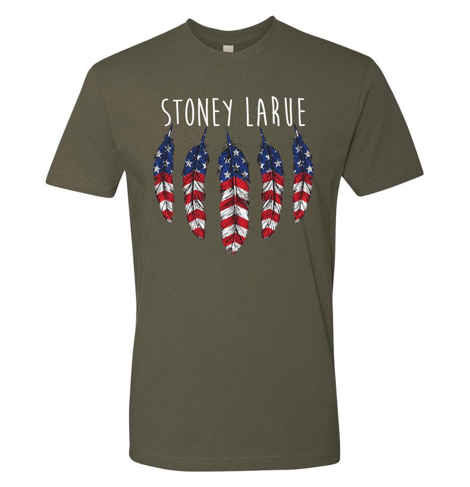 Unisex T-Shirt: USA Feathers (Military Green) T-Shirt MGUNIUSAFEATHERS