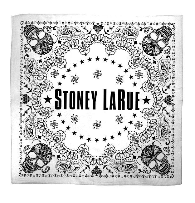 White skull bandana with Stoney LaRue print.