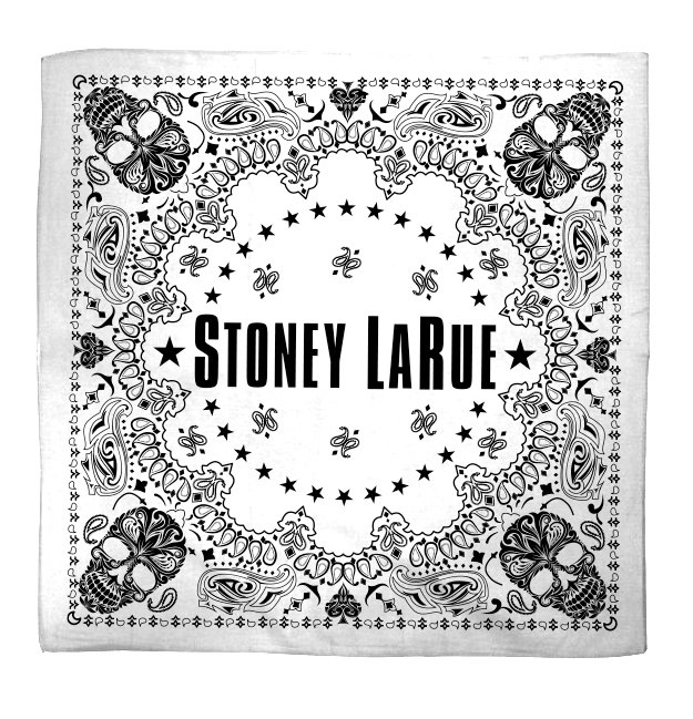 White skull bandana with Stoney LaRue print.
