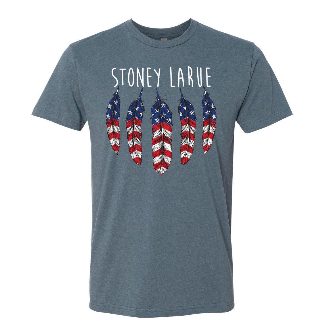 Unisex T-Shirt: USA Feathers (Indigo ) T-Shirt Unisex T-Shirt: USA Feathers (Indigo ) T-Shirt