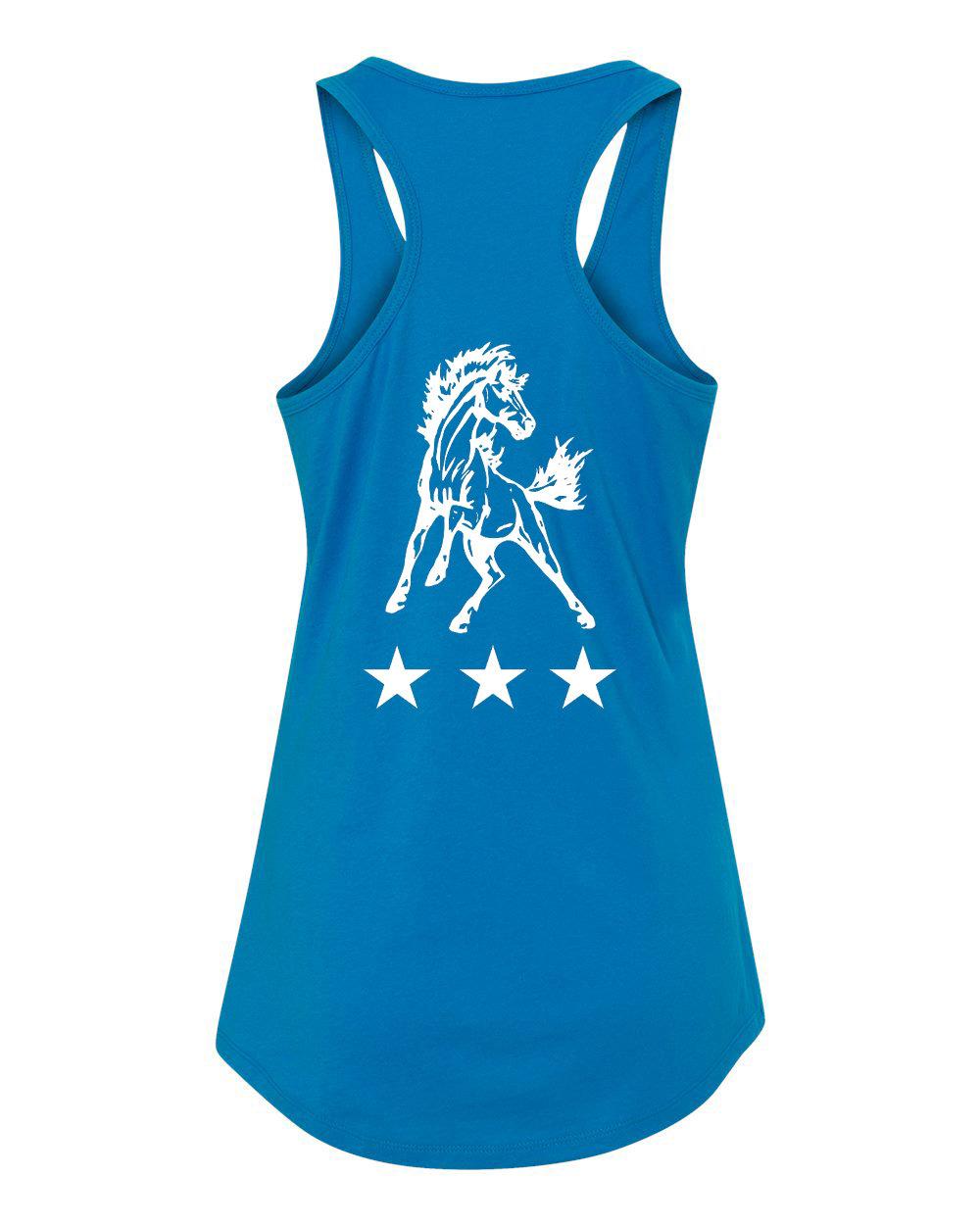Ladies Blue Horse Racerback Tank