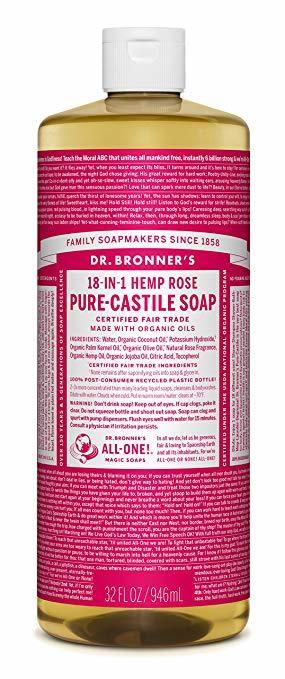 Dr. Bronner's - Savon Liquide de Castille Chanvre Rose bio équitable 946ml TX21024